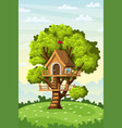 treehouse on a meadow vector image