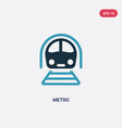 two color metro icon from transportation concept vector image