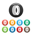 vehicle tire icons set color vector image vector image