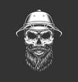 vintage monochrome skull in safari hat vector image vector image
