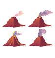 volcanic eruption stages with lava fire and smoke vector image vector image