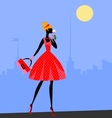 walking girl in red vector image