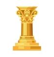 Corinthian realistic antique greek gold column vector image