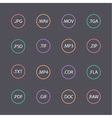 Multicolored set of document file formats vector image