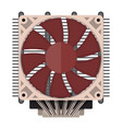 plastic computer processor cooler with radiator vector image