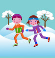 a boy and a girl run in the winter in a park vector image