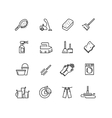Cleaning line icons vector image