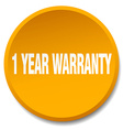 1 year warranty orange round flat isolated push vector image vector image