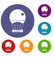 aerostat balloon icons set vector image vector image