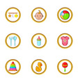 baby toys icon set cartoon style vector image