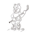 bear hockey player coloring page vector image