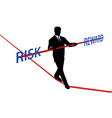 business man tightrope balance risk reward vector image vector image