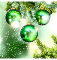 christmas background with green baubles vector image