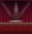 cinema or theater hall scene with a curtain vector image
