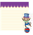 circus monkey on note template vector image vector image