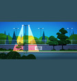 city park banner on fence beautiful night vector image vector image