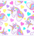 colorful unicorns and hearts vector image vector image