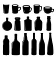 cup and bottle icon black design vector image
