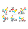 cute little boy riding bicycle on white vector image vector image