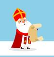 cute saint nicholas with lists vector image vector image