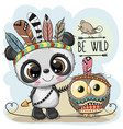 cute tribal panda and owl with feathers vector image vector image