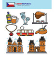 czech travel tourism landmarks and culture famous vector image vector image