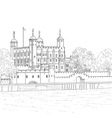 drawing tower london vector image vector image