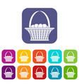 easter basket icons set flat vector image vector image