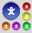 Gingerbread man icon sign Round symbol on bright vector image vector image