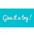 Give it a try custom lettering typographic vector image