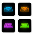 glowing neon pizza in cardboard box icon isolated vector image