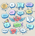 hand drawn doodle cartoon speech bubbles set vector image