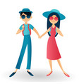 happy hipster couple traveling handsome man with vector image vector image