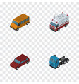 isometric car set of truck car first-aid and vector image vector image