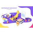 isometric on white background for strategic partn vector image vector image