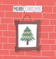 merry christmas celebration hanging frame tree vector image