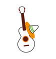 mexican guitar and hat traditional instrument vector image vector image