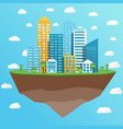 modern city on flying island concept vector image vector image