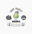 pear bio sticker and eco products pear web vector image