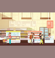people shopping in grocery store supermarket vector image vector image
