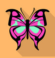 pink butterfly icon flat style vector image vector image