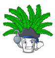 pirate fern frond frame decoration on cartoon vector image