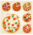pizza top view set italian with slices vector image