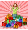 Pop Art Surprised Woman with Huge Gift Boxes vector image vector image