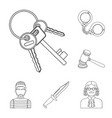 prison and the criminaloutline icons in set vector image vector image