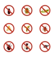Prohibited insects icons set flat style vector image vector image