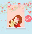 red hood girl and happy cat in the spring town vector image