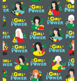 seamless pattern with cute girls and their hobby vector image vector image