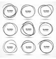 Set of 9 Hand Drawn Scribble Circles design elemen vector image vector image