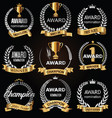 silver award signs with laurel wreath isolated vector image